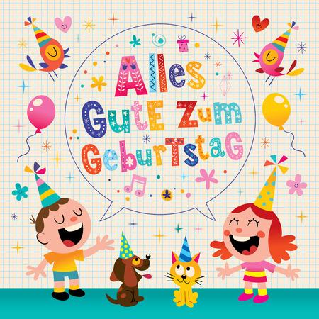 Alles Gute zum Geburtstag Deutsch German Happy birthday greeting card with little boy and girl pets puppy and kitten Illustration
