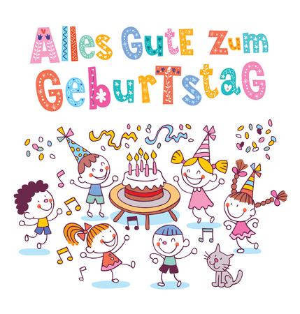 Alles Gute zum Geburtstag Deutsch German Happy birthday kids greeting card