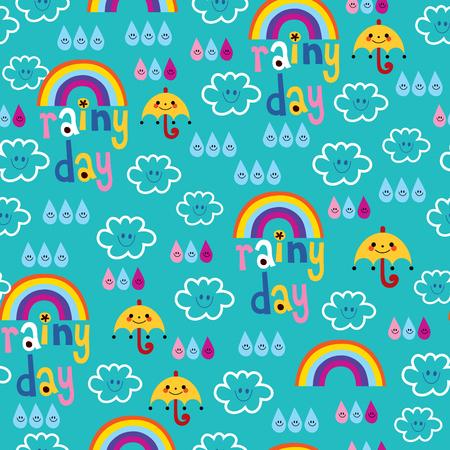 rainy day clouds rainbows umbrellas and raindrops sky seamless pattern