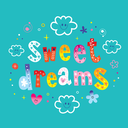 sweet dreams lettering design with cute cloud characters Illustration