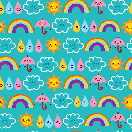 cute sun umbrellas raindrops clouds rainbows characters weather sky seamless pattern Ilustração