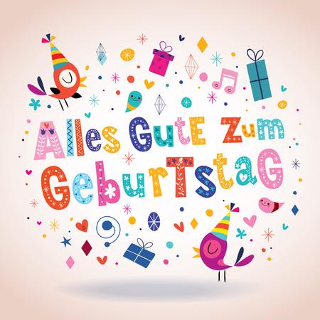 Alles Gute zum Geburtstag Deutsch German Happy birthday greeting card with cute birds