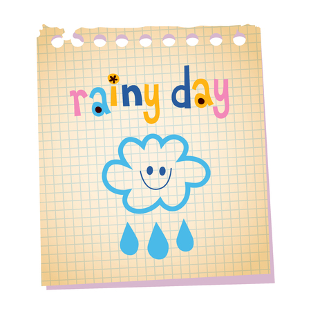 rainy day notepad paper message Illustration