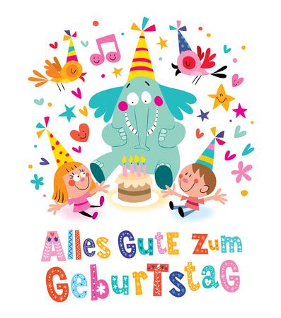 Alles Gute zum Geburtstag Deutsch German Happy birthday greeting card Illustration