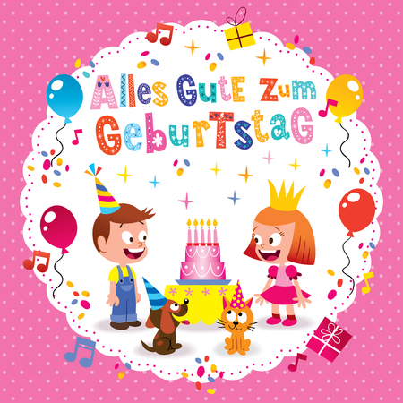 Alles Gute zum Geburtstag Deutsch German Happy birthday greeting card with little boy and girl puppy and kitten Illustration