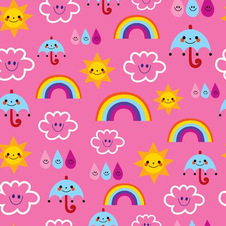 sun umbrellas raindrops clouds rainbows characters weather pink sky seamless pattern Ilustração