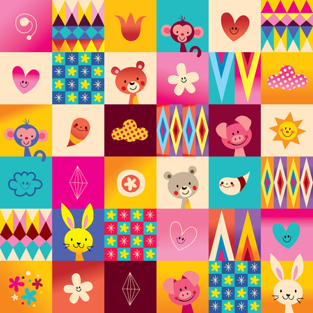 cute baby animals kids pattern Stock Vector - 76702170