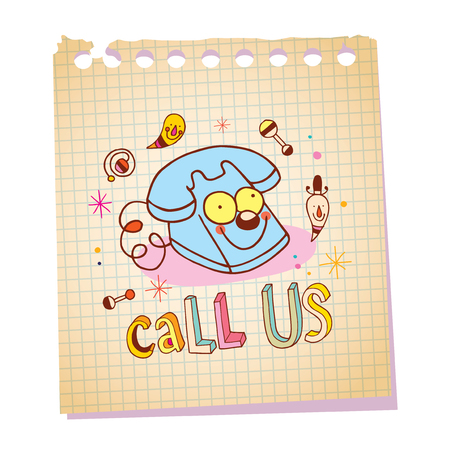 telephone call: call us unique lettering with telephone cartoon character notepad paper message