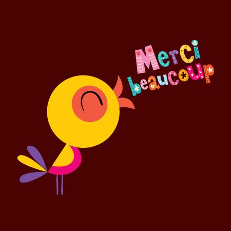 Merci beaucoup ありがとうございます非常に多くのフランス語のグリーティング カード  イラスト・ベクター素材