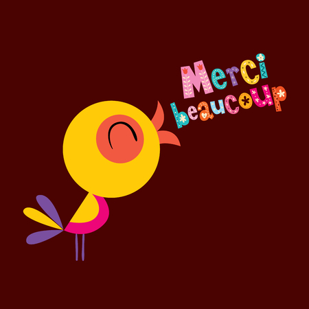 Merci beaucoup thank you very much in French greeting card