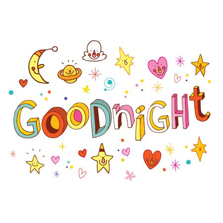 Buenas noches letras únicas Ilustración de vector