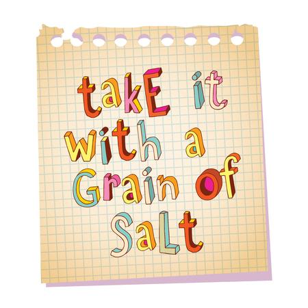 Take it with a grain of salt unique lettering decorative text notepad paper message
