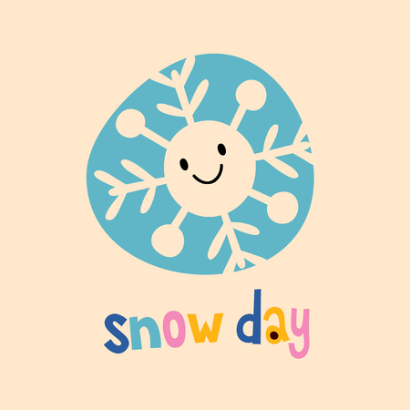 snowflake snow: snow day design with cute snowflake character