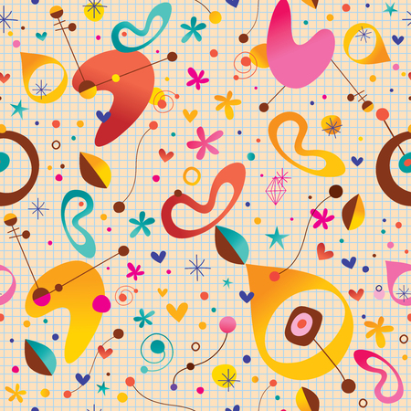 note paper background: Abstract modern art retro style seamless pattern with note book paper background Illustration