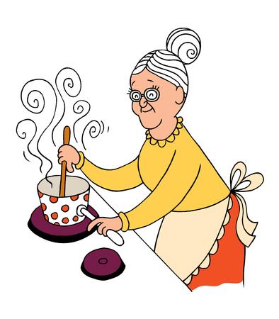 Oma koken Stock Illustratie