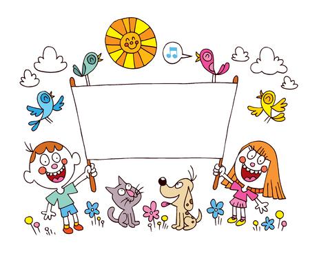 kids holding a banner Illustration