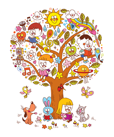 kids reading on a tree Illustration