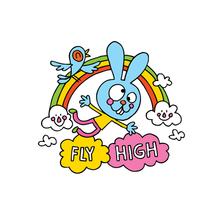fly high cute bunny character motivational design