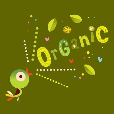 Organic - unique decorative lettering type design with cute bird Illustration