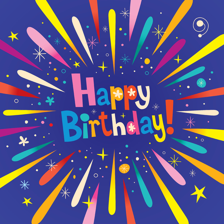 Happy Birthday greeting card with burst explosion
