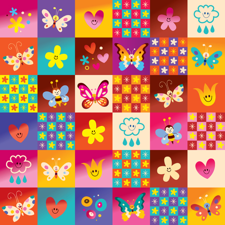 cute butterflies flowers bees nature pattern Иллюстрация