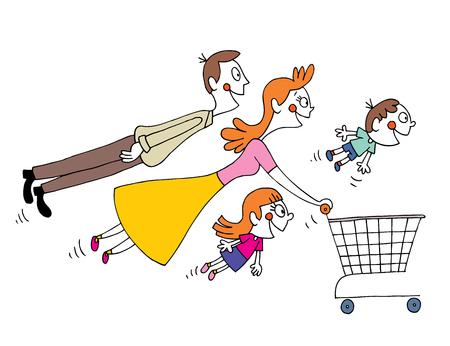 mujer en el supermercado: familia de compras