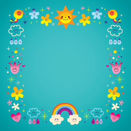 sun clouds rainbow singing birds raindrops flowers characters nature frame border