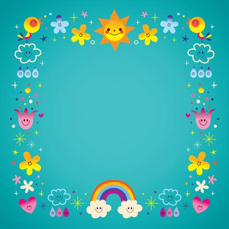 Zon wolken regenboog zingen vogels regendruppels bloemen karakters natuur kader grens Stock Illustratie