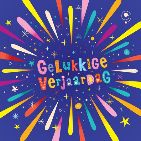 gelukkige verjaardag Dutch Happy birthday greeting card Holland 版權商用圖片 - 76795121