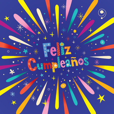 Feliz Cumpleanos - Happy Birthday in Spanish greeting card with burst explosion Illustration