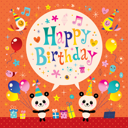 Happy Birthday Kids Greeting Card With Cute Panda Bears Royalty Free