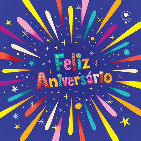 Feliz Aniversario Portuguese Happy Birthday greeting card with burst explosion