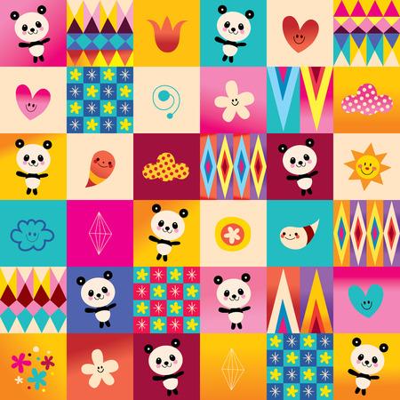 cute baby panda bears kids pattern