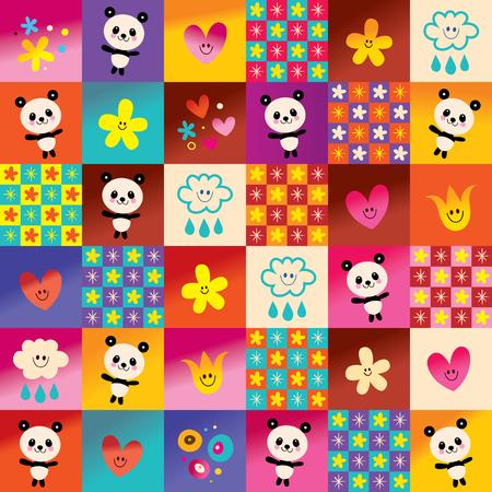 cute panda bears and flowers pattern