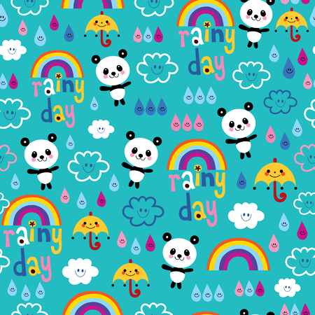 rainy day clouds rainbows umbrellas raindrops panda bears seamless pattern