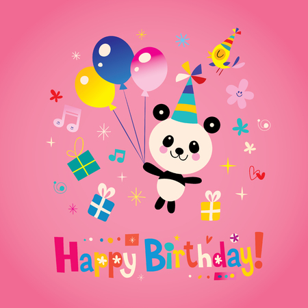 Happy birthday card with cute panda bear
