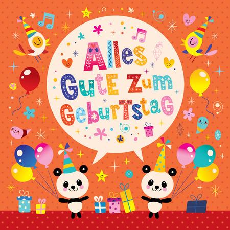 Alles gute zum geburtstag deutsch german happy birthday greeting alles gute zum geburtstag deutsch german happy birthday greeting card with cute panda bears stock vector m4hsunfo