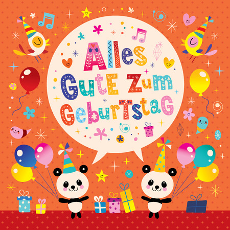 Alles Gute zum Geburtstag Deutsch German Happy birthday greeting card with cute panda bears