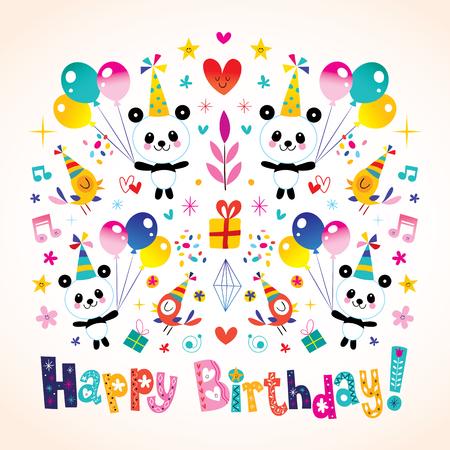 Happy Birthday Greeting Card With Cute Panda Bears Royalty Free