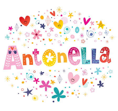 Antonella girls name decorative lettering type design