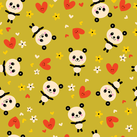 baby panda bears flowers and hearts seamless pattern