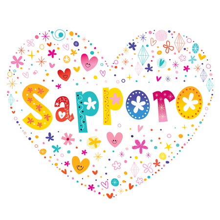 Sapporo city heart shaped type lettering vector design