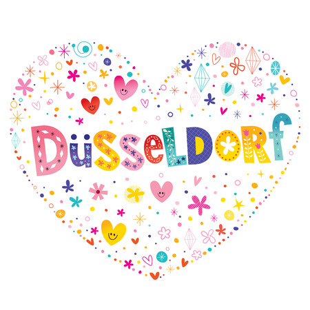 Dusseldorf city in Germany heart shaped type lettering vector design Illustration