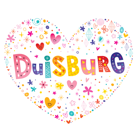 Duisburg city in Germany heart shaped type lettering vector design Illustration