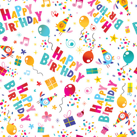 Happy birthday wrapping paper seamless pattern