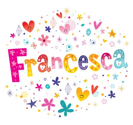 フランチェスカの女の子名前装飾レタリング型デザイン  イラスト・ベクター素材