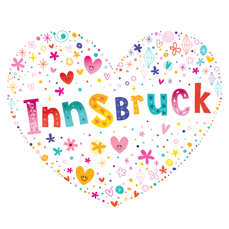 Innsbruck city in Austria heart shaped type lettering vector design Иллюстрация