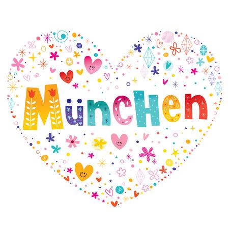 독일 뮌헨 도시 심장 모양의 글자 벡터 디자인 일러스트