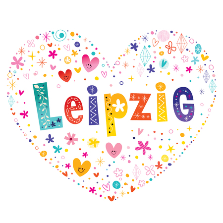 Leipzig city in Germany heart shaped type lettering vector design