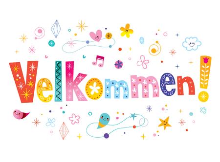 welkom in het Deense decoratieve tekstontwerp Stock Illustratie